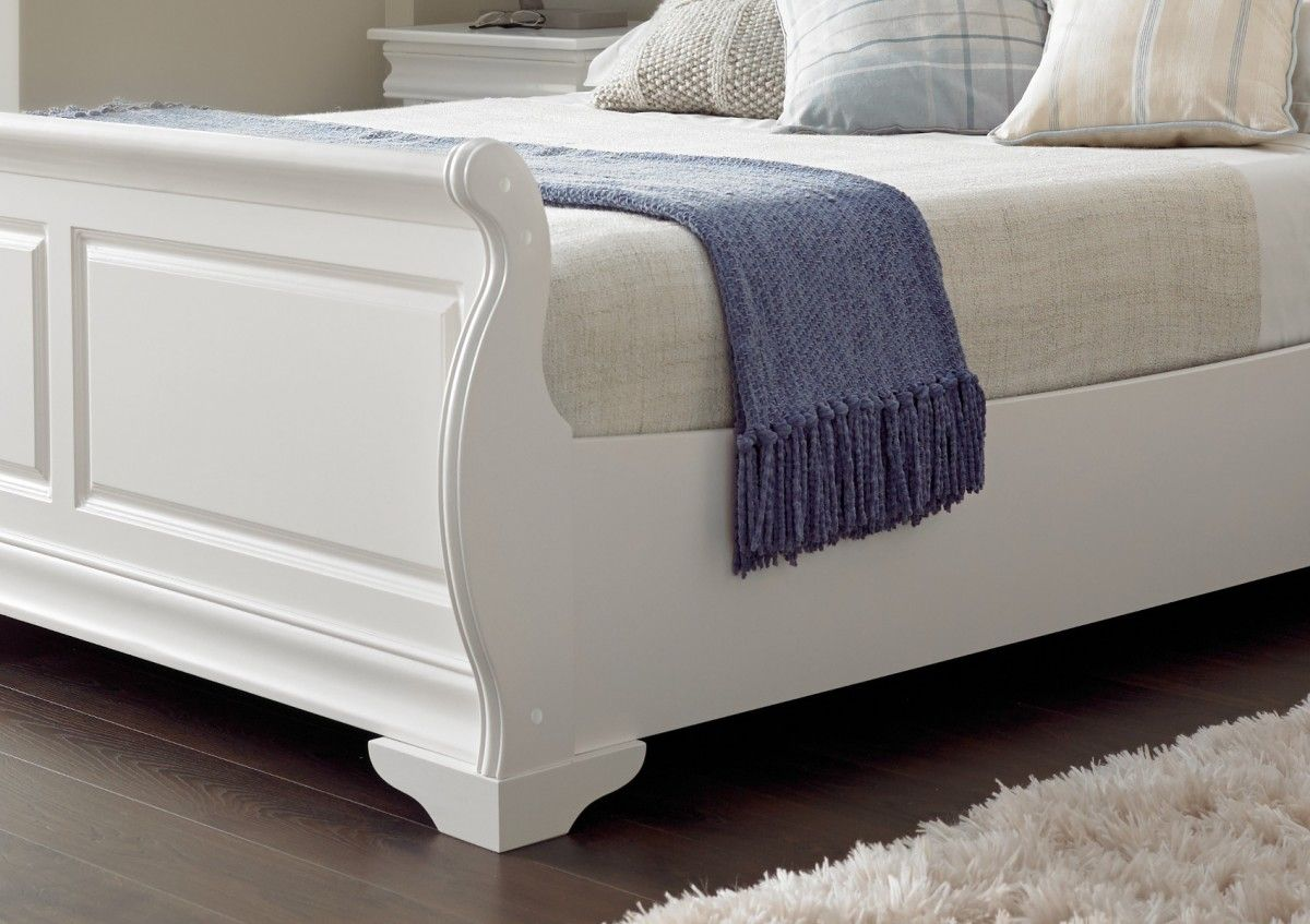Bedding Louie Sleigh Bed White Wooden Sleigh Beds Wooden Beds Beds