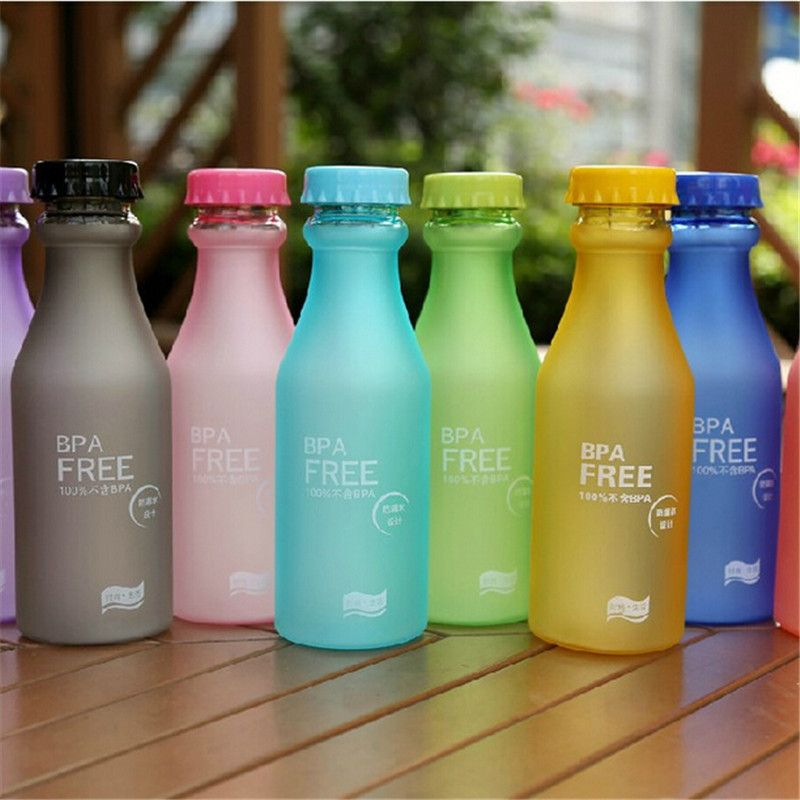 Portable Unbreakable Running Plastic Cup Leak-proof Frosted Sports Water Bottle