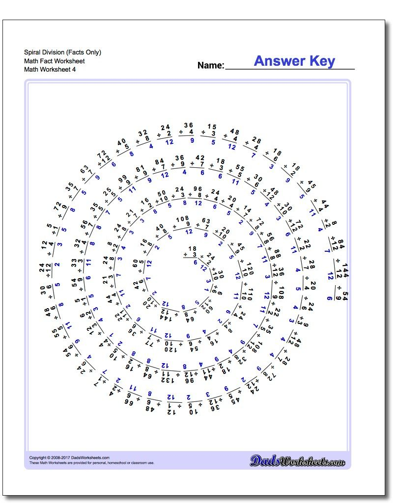 Spiral Division Math Fact Worksheet #Division #Worksheets | August ...