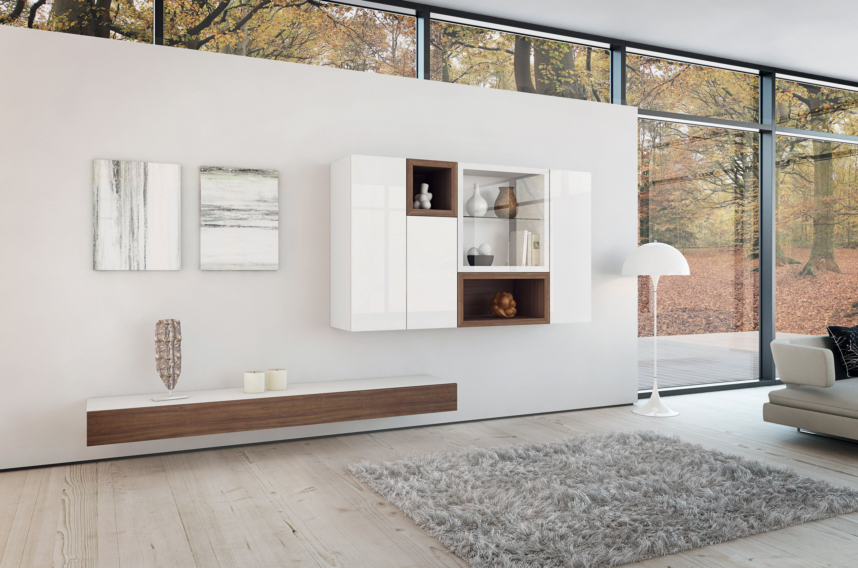 Floating Tv Stand Living Room Furniture Part   15: Contemporary White  Themes Living Room Decors