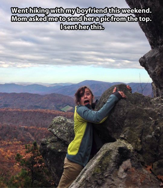 Funny Girl Rocks Hiking Photo