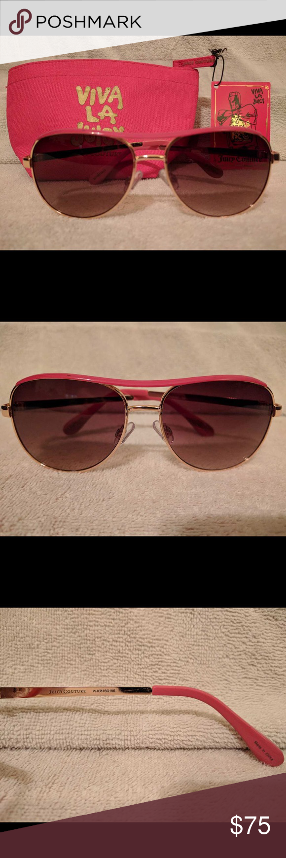 JUICY COUTURE Pink rimmed sunglasses w/NWT pouch JUICY COUTURE Pink Rimmed Sunglasses EUC Normal wear.  Bundled with JUICY COUTURE Pouch NWT included Juicy Couture Accessories Sunglasses #pinkrims JUICY COUTURE Pink rimmed sunglasses w/NWT pouch JUICY COUTURE Pink Rimmed Sunglasses EUC Normal wear.  Bundled with JUICY COUTURE Pouch NWT included Juicy Couture Accessories Sunglasses #pinkrims