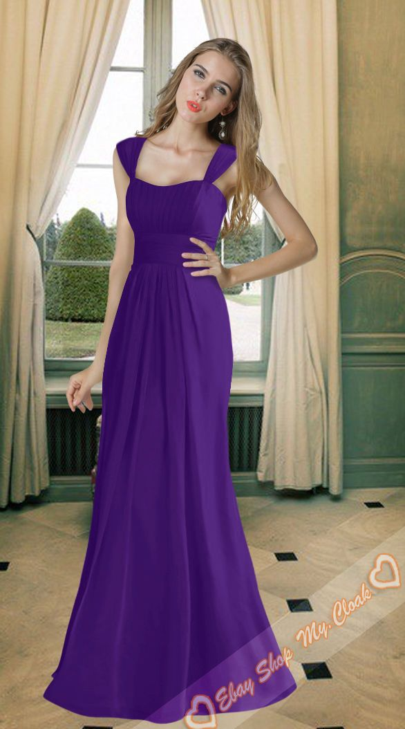 597650d1004a 8 Types Cadbury Purple Chiffon Bridesmaids Dresses Evening Prom Gowns Size  6-26 in Clothes