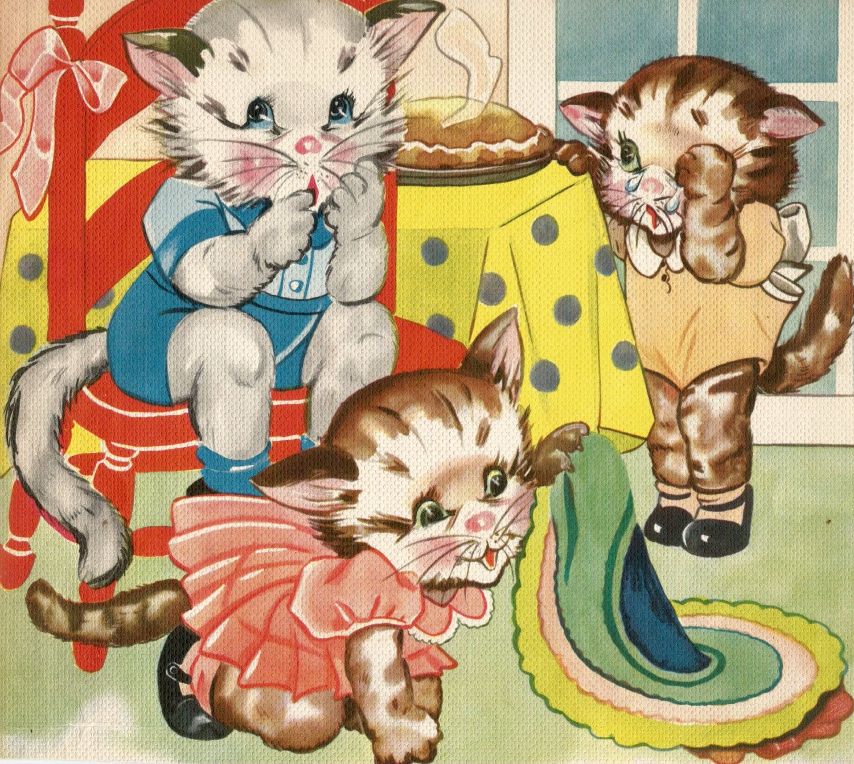 Vintage Children 39 S Storybook Illustration Art Three Little Kittens Cat Digital Download Printable Instant Image Vintage Illustration Cat Art Illustration
