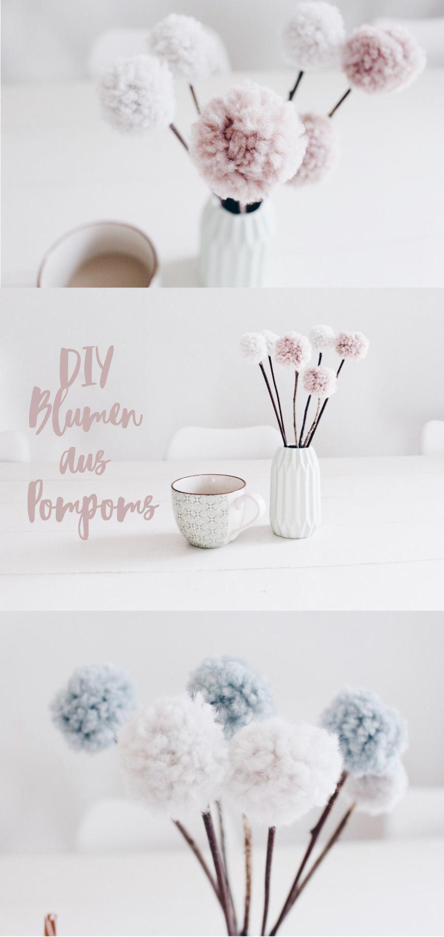 Diy Deko Blumen Aus Pompoms Selber Machen Mit Wolle Und