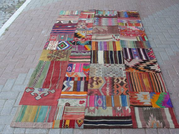 Turkish Patchwork Kilim Rug Carpet Handwoven By Misterpillow 555 00