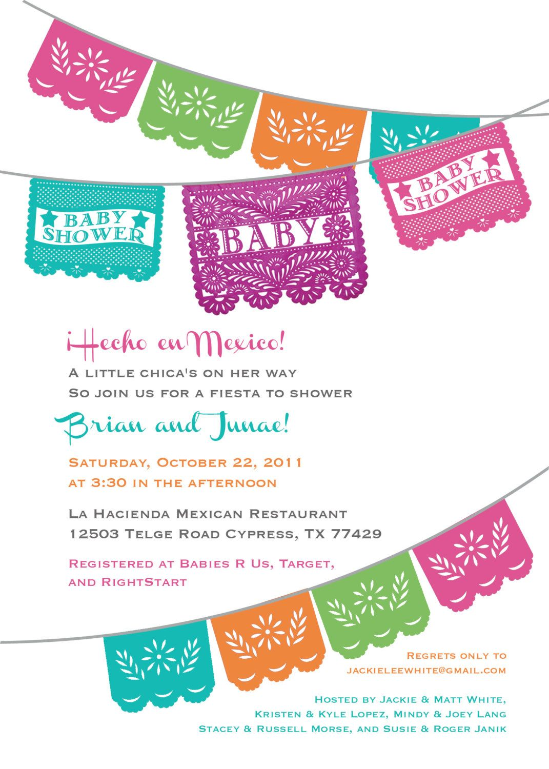 Papel Picado Baby Shower Invitation for a Boy or Girl - Gender ...