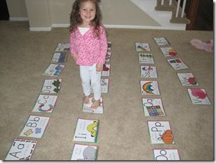 letter recognition- say a letter, kids hop on the letter on the floor