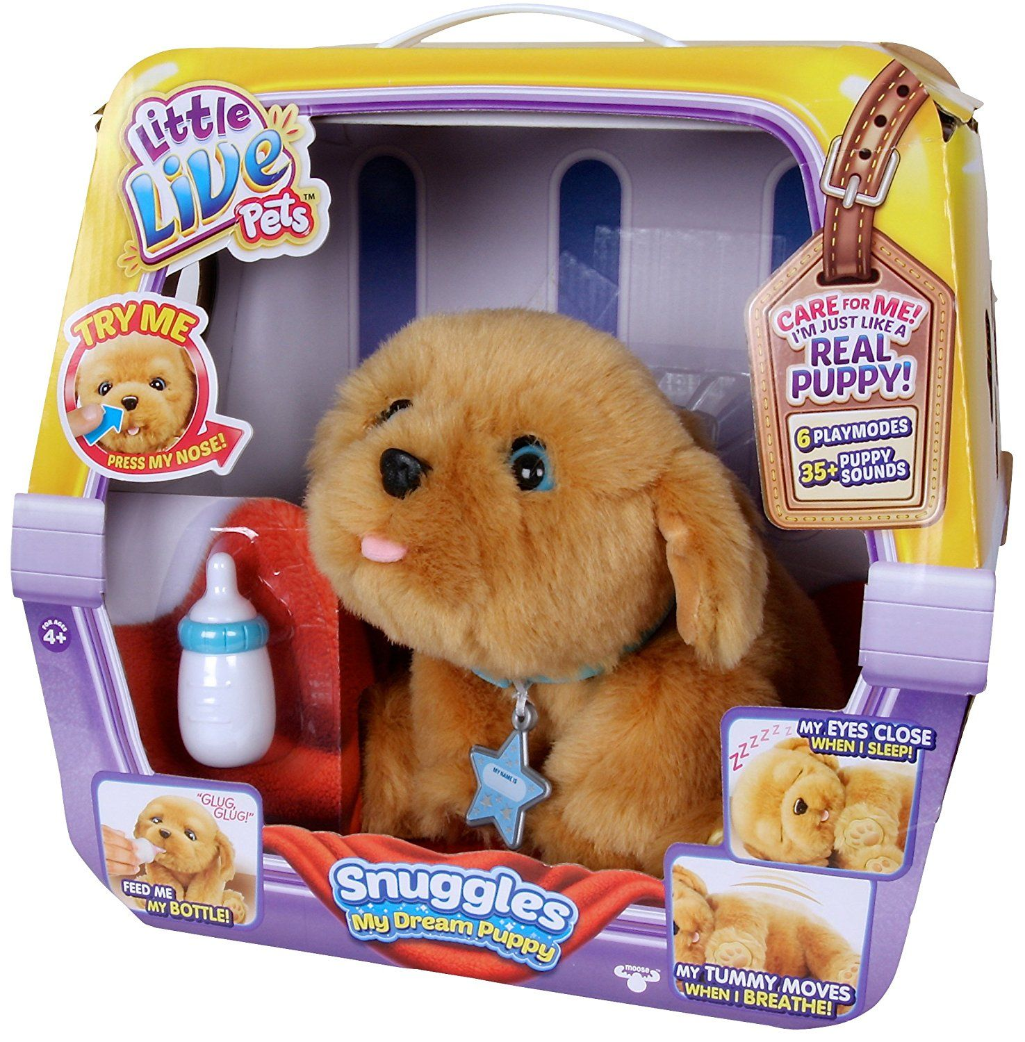 Amazon Com Little Live Pets Snuggles My Dream Puppy Playset Toys Games Little Live Pets Puppy Soft Toy Puppy Snuggles