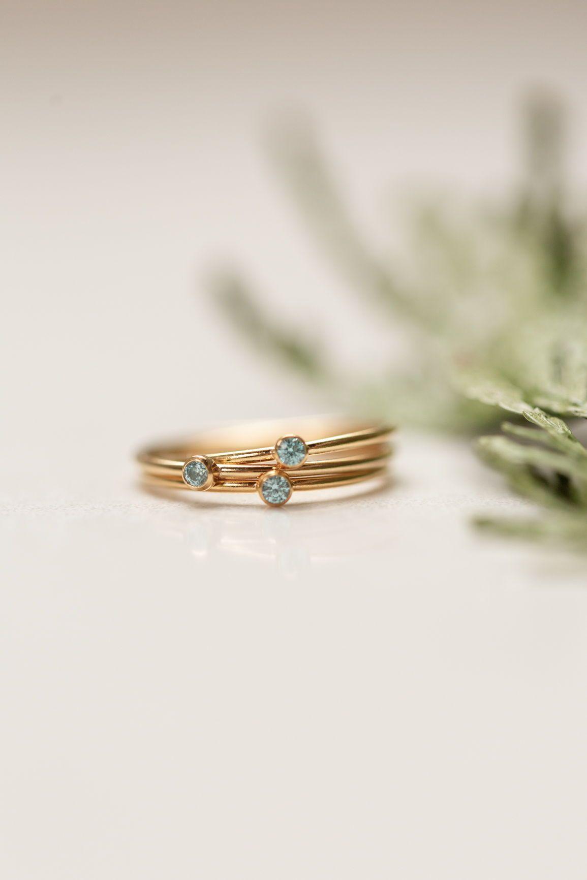 Blue Topaz Ring Gold Ring SALE Round Ring Gemstone Ring Stacking Ring Tiny Ring December Birthstone Ring