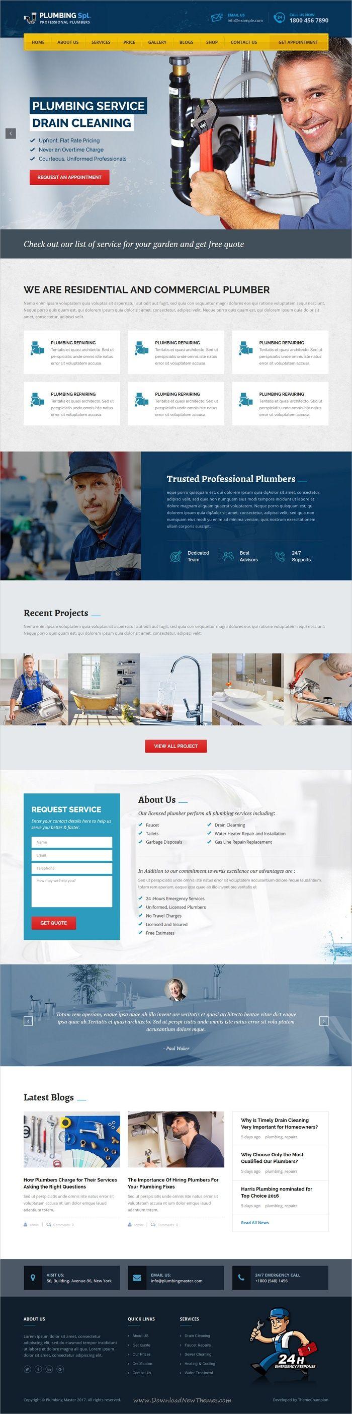 Plumbing Spl Plumber Wordpress Theme Plumbing Beautiful Website Design Plumber