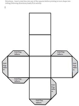 blank adjustable cube pattern teaching ideas cube template