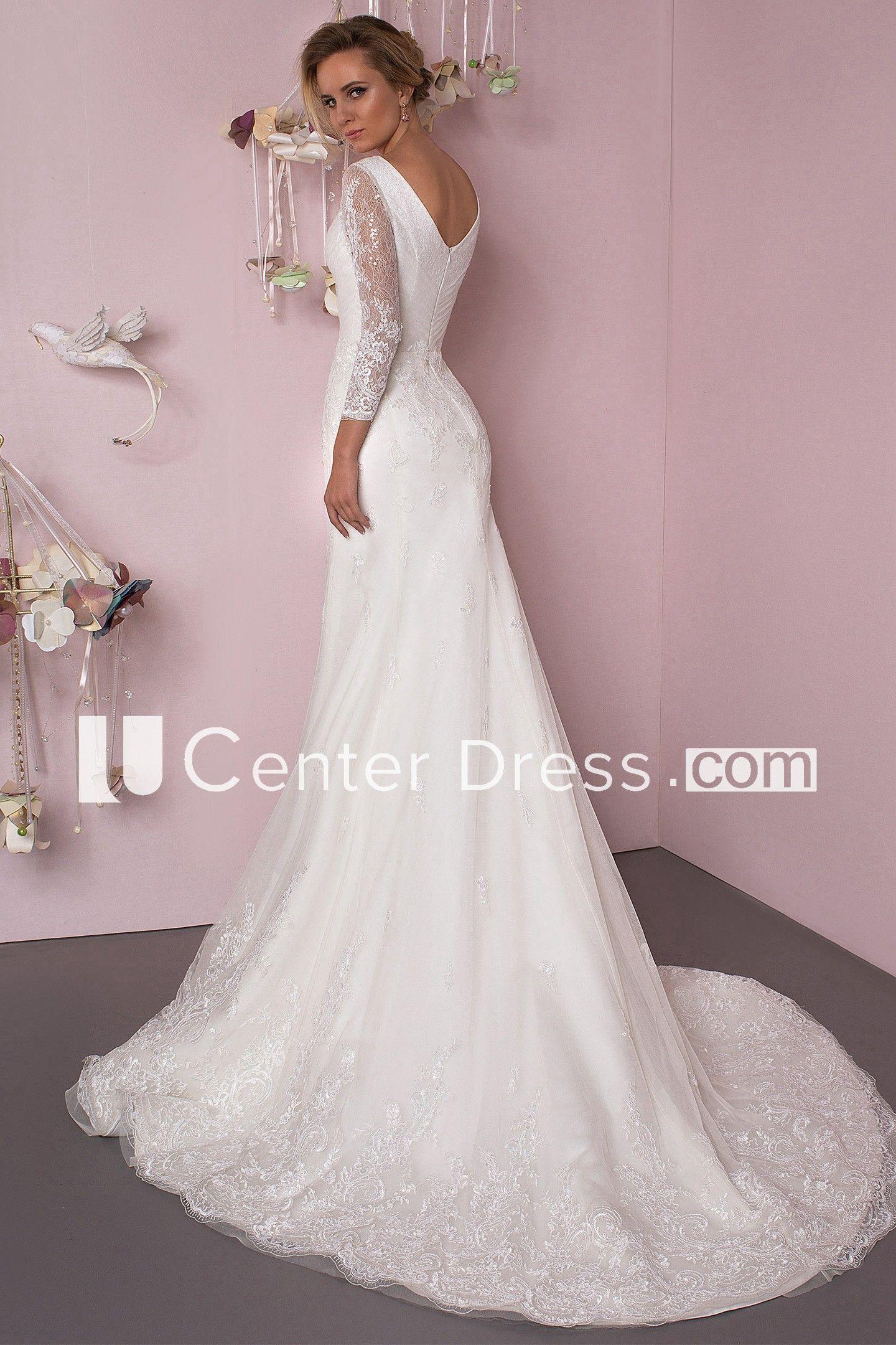 8a81321c6550 Mermaid Floor-Length Appliqued Scoop Neck 3-4 Sleeve Lace Wedding Dress - UCenter  Dress