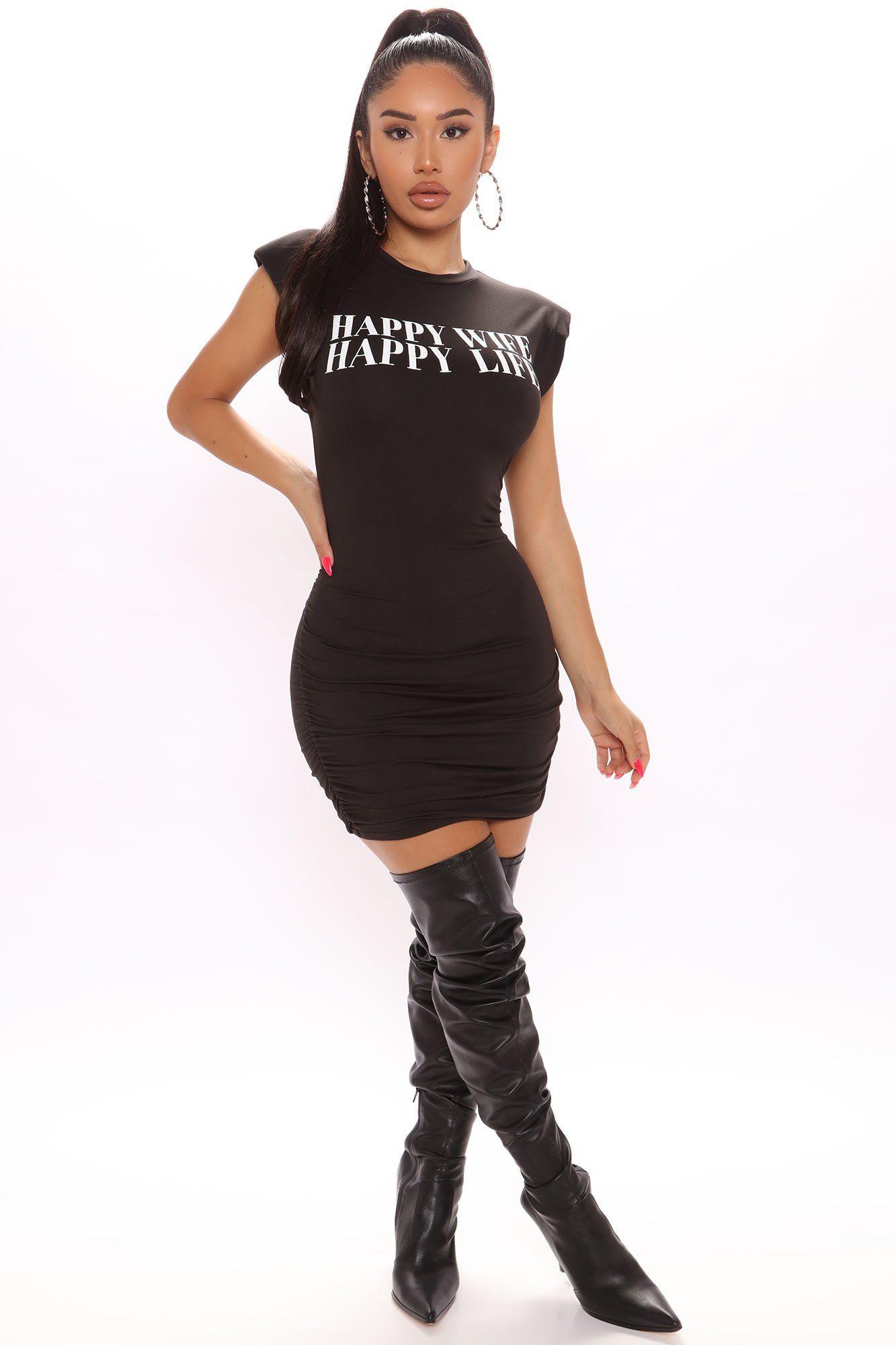Happy Wife Shoulder Pad Mini Dress Black In 2021 Mini Black Dress Party Dress Classy Fashion [ 2000 x 1333 Pixel ]