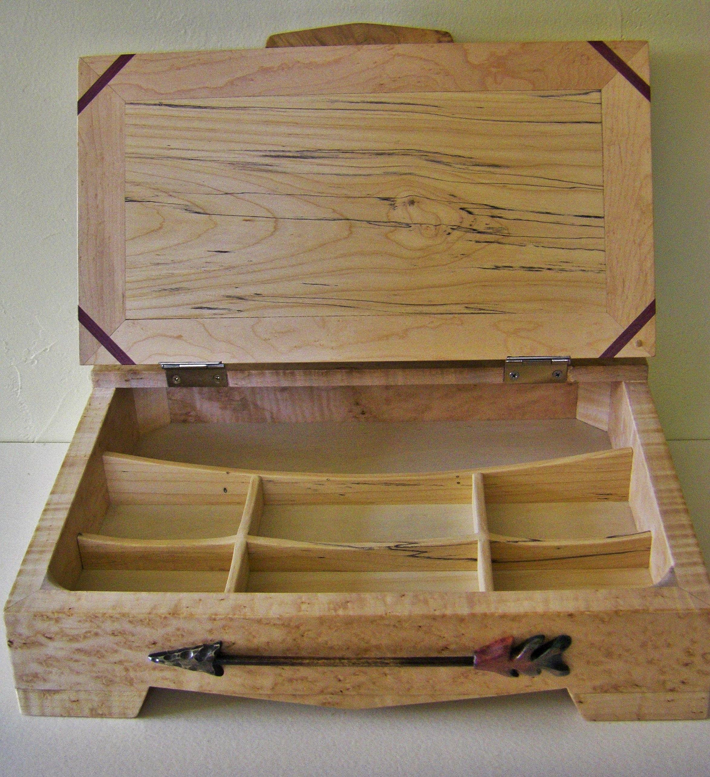 Inside of a birds eye maple jewelry box carvededgegmailcom Wood
