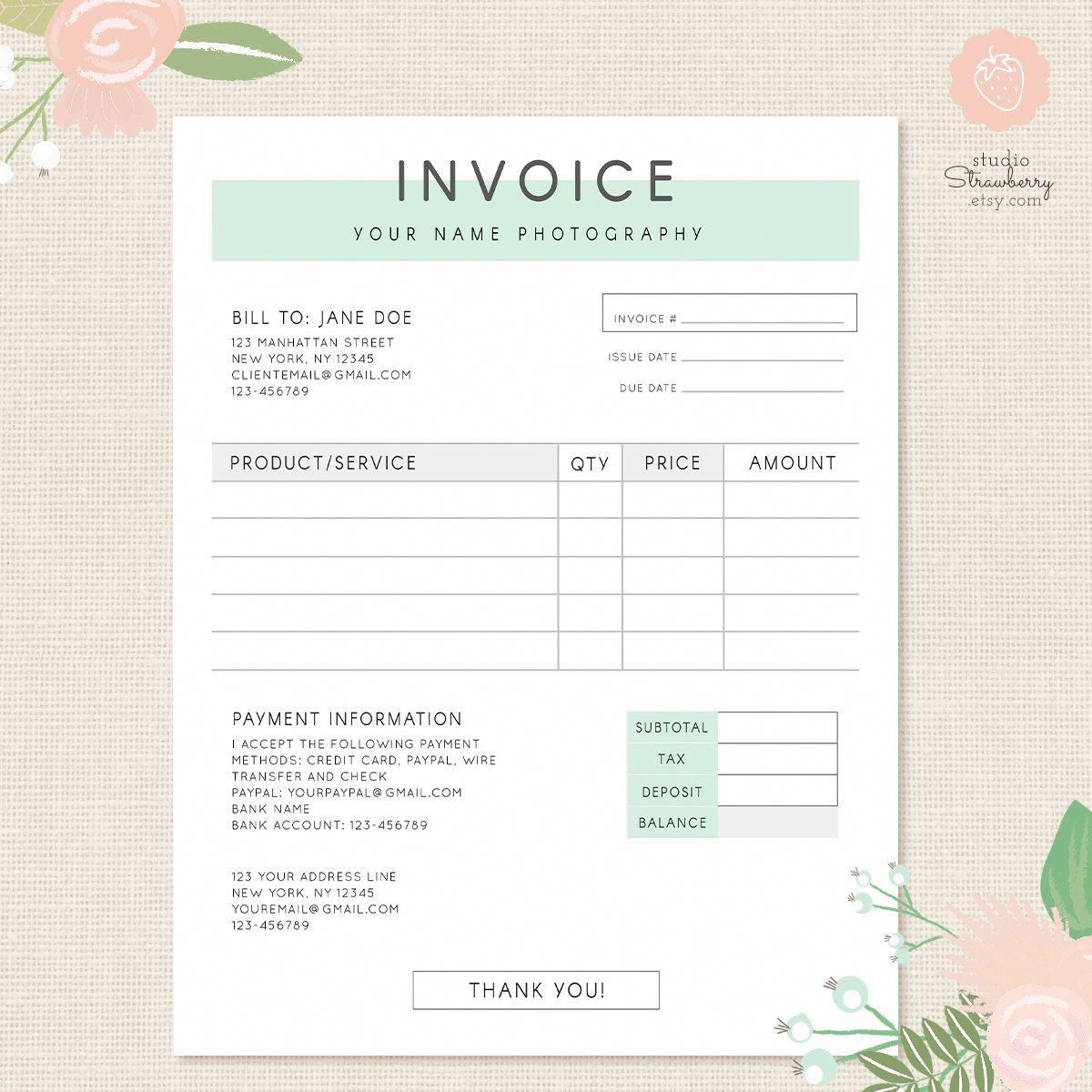 Invoice Template Photography Invoice Business Invoice Receipt Template For Photographers Photography Invoice Photography Invoice Template Invoice Template