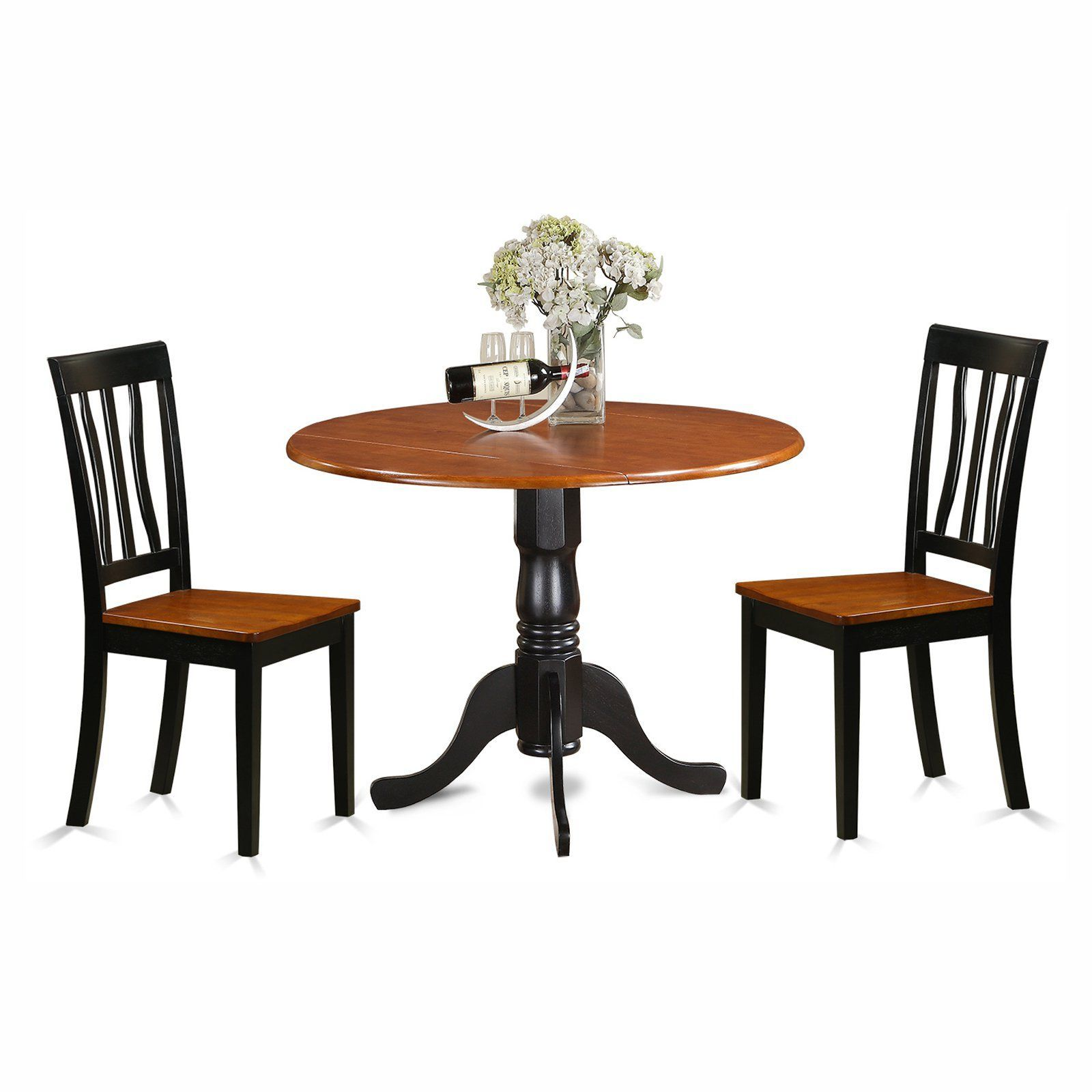 East west furniture dublin 3 piece drop leaf round dining table set east west furniture dublin 3 piece drop leaf round dining table set with antique wooden seat dzzzfo