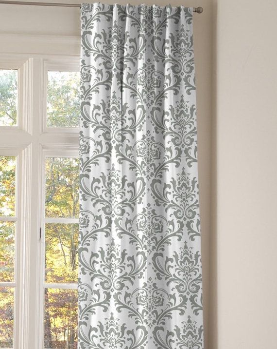 One Pair Of White And Gray Damask Curtains Grey Window Treatments Grey And White Curtains White Curtains Bedroom
