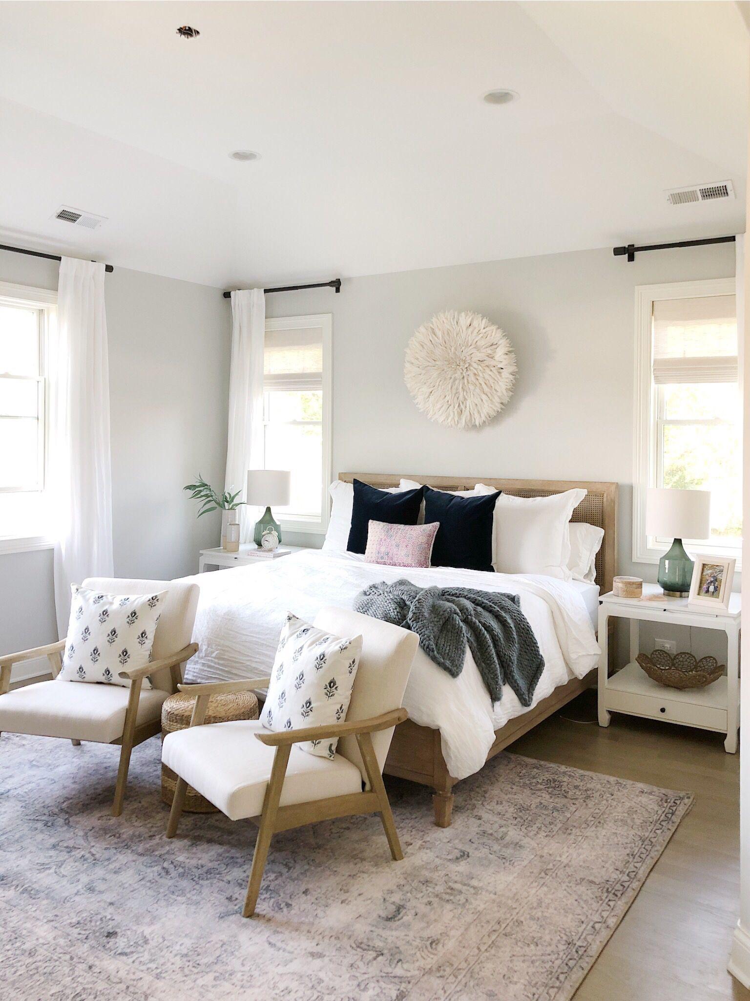 Bedroom with benjamin moore gray owl pottery barn bed vintage