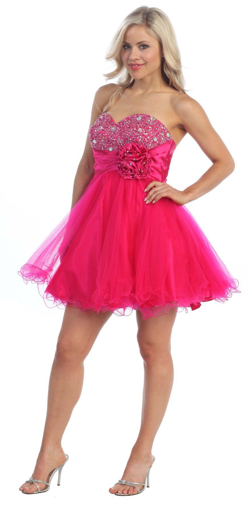 short fuchsia sweetheart dress
