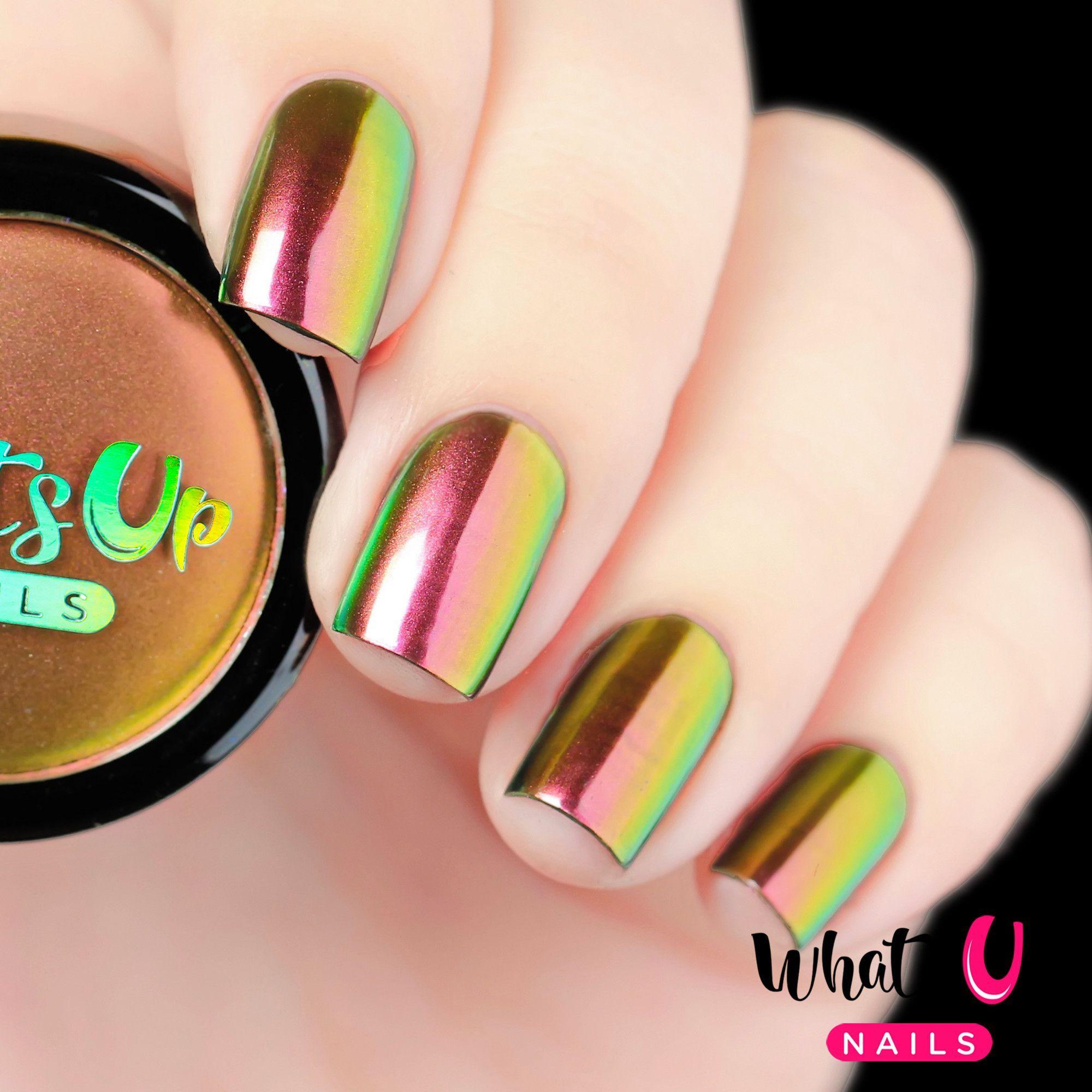 Dragon Powder   Red nail designs, Chrome nails and Prom nails