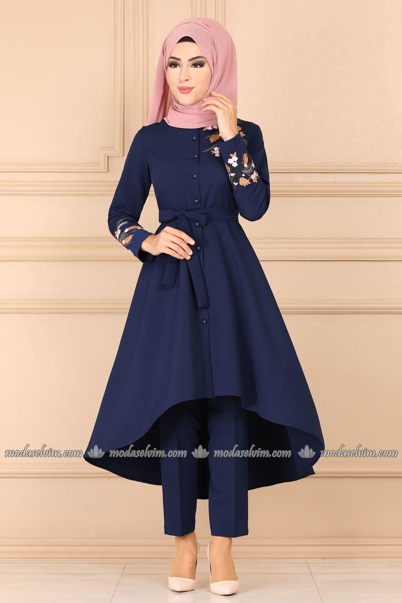 Moda Selvim Nakisli Ikili Tesettur Takim 9472w153 Indigo Muslim Fashion Outfits Muslim Fashion Fashion Outfits