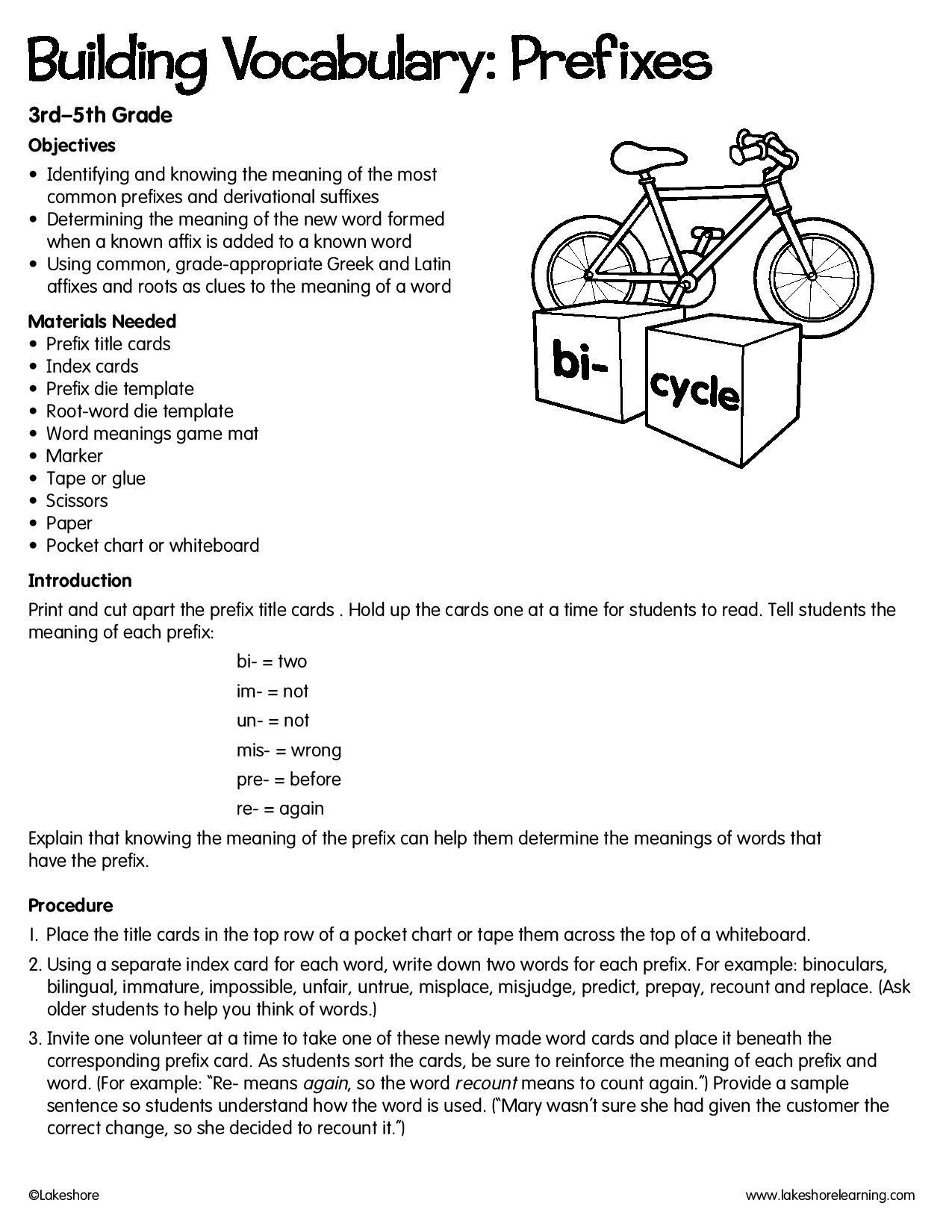 Building Vocabulary Prefixes Lessonplan Vocabulary
