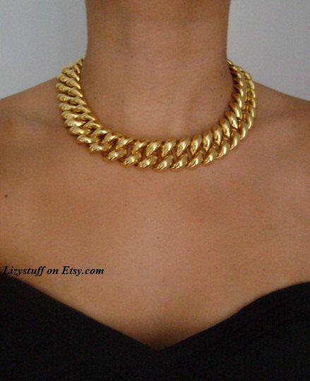 Vintage Signed MONET Stunning Shiny Gold Tone Chunky Bold Wide