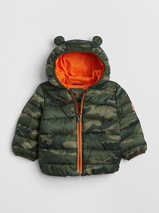 3b8b1dea6c46 Gap Babies  Coldcontrol Lightweight Critter Puffer Jacket Green Camo ...