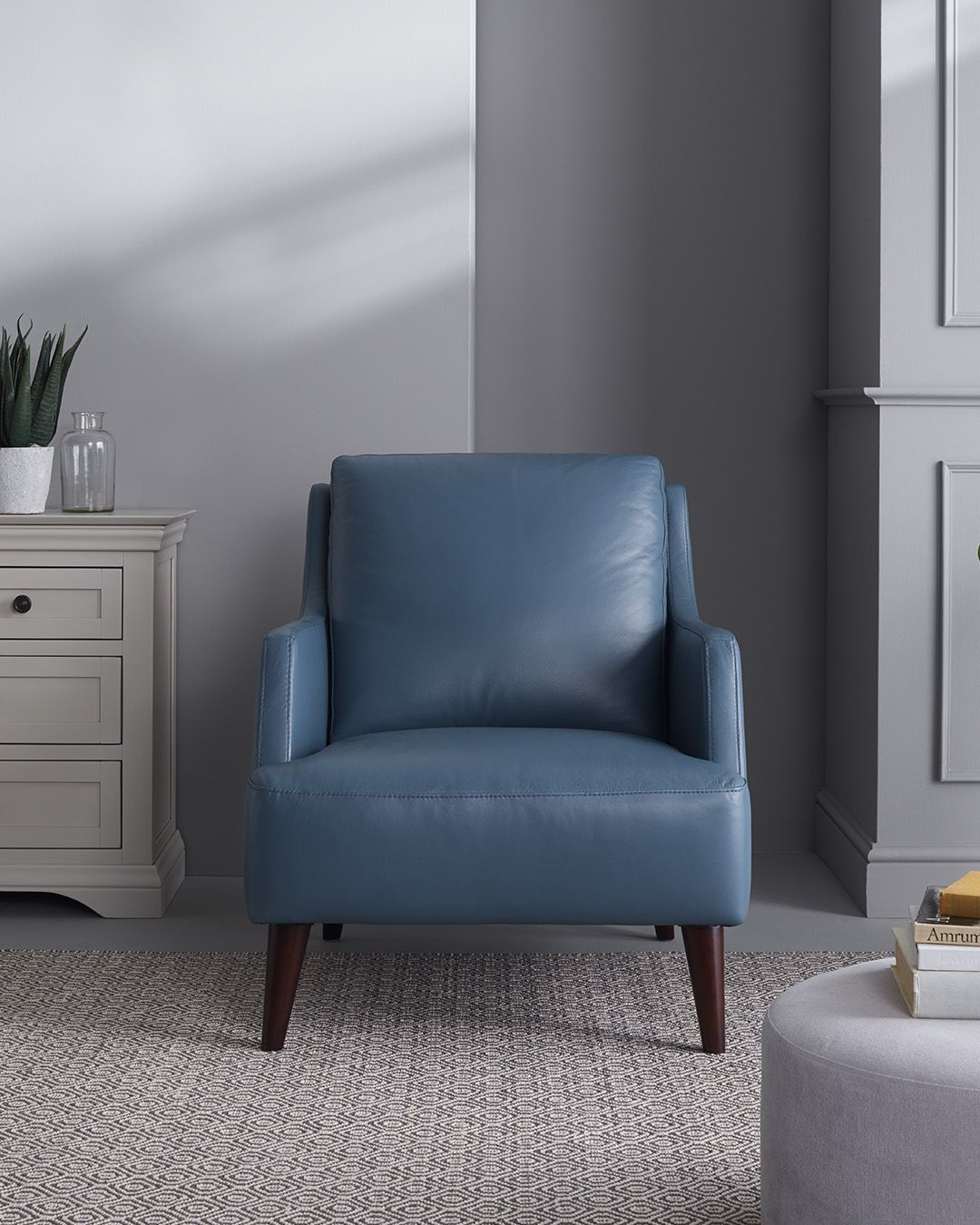 Trend Sky Blue Leather Accent Chair White dining chairs