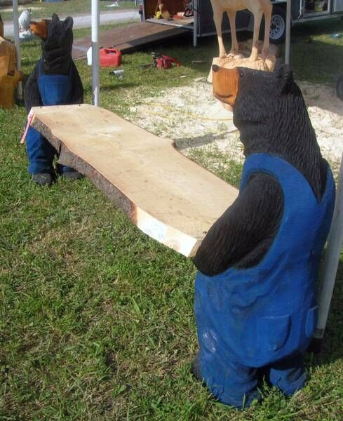 Chainsaw carved wood benches links shows