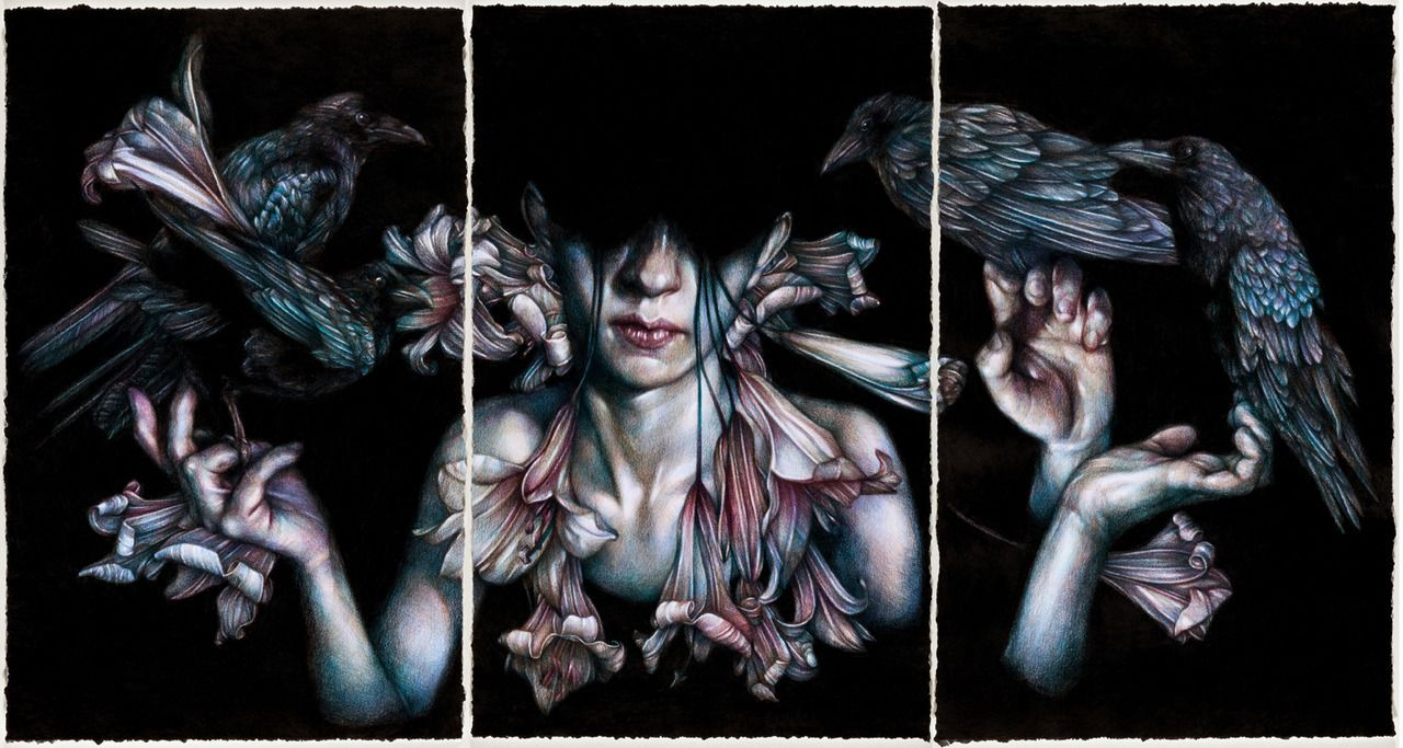 """""""Prayers for Rain"""" 2013, colored pencils on paper By Marco Mazzoni"""