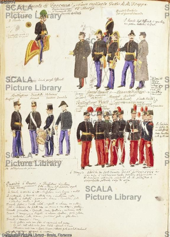 Stock Photo Uniforms Of Royal Troops Grand Duchy Tuscany By Quinto Cenni Color Plate 1852