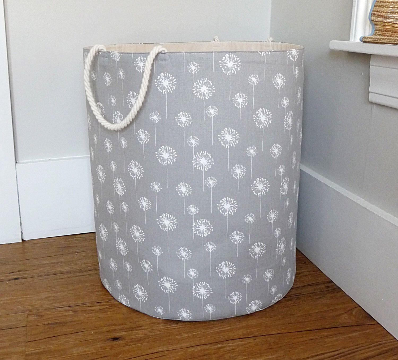XL Fabric Storage Laundry Hamper, Canvas Basket, Grey