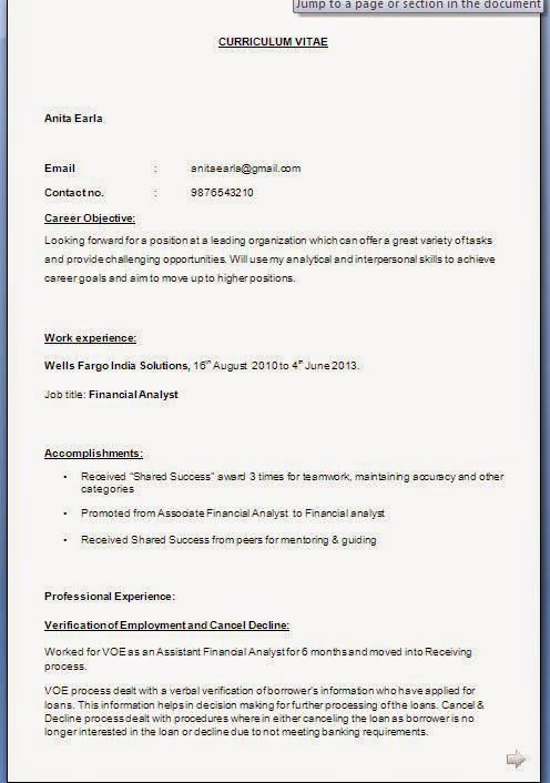 example of personal statement for cv Sample Template Example - sample financial analyst resume