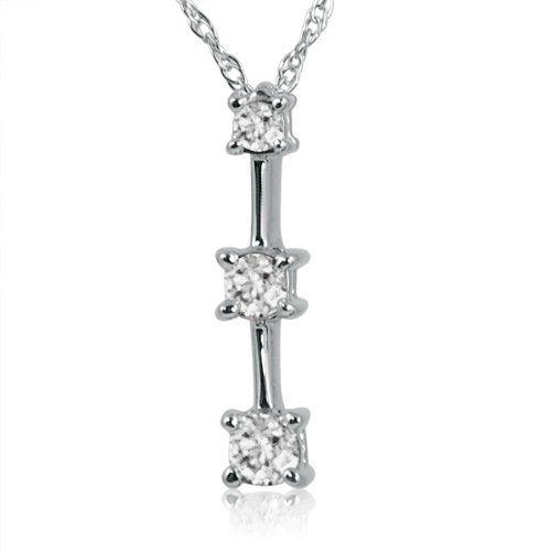 10k white gold three stone diamond pendant necklace 14ct tw 18 10k white gold three stone diamond pendant necklace 14ct tw 18 aloadofball Image collections