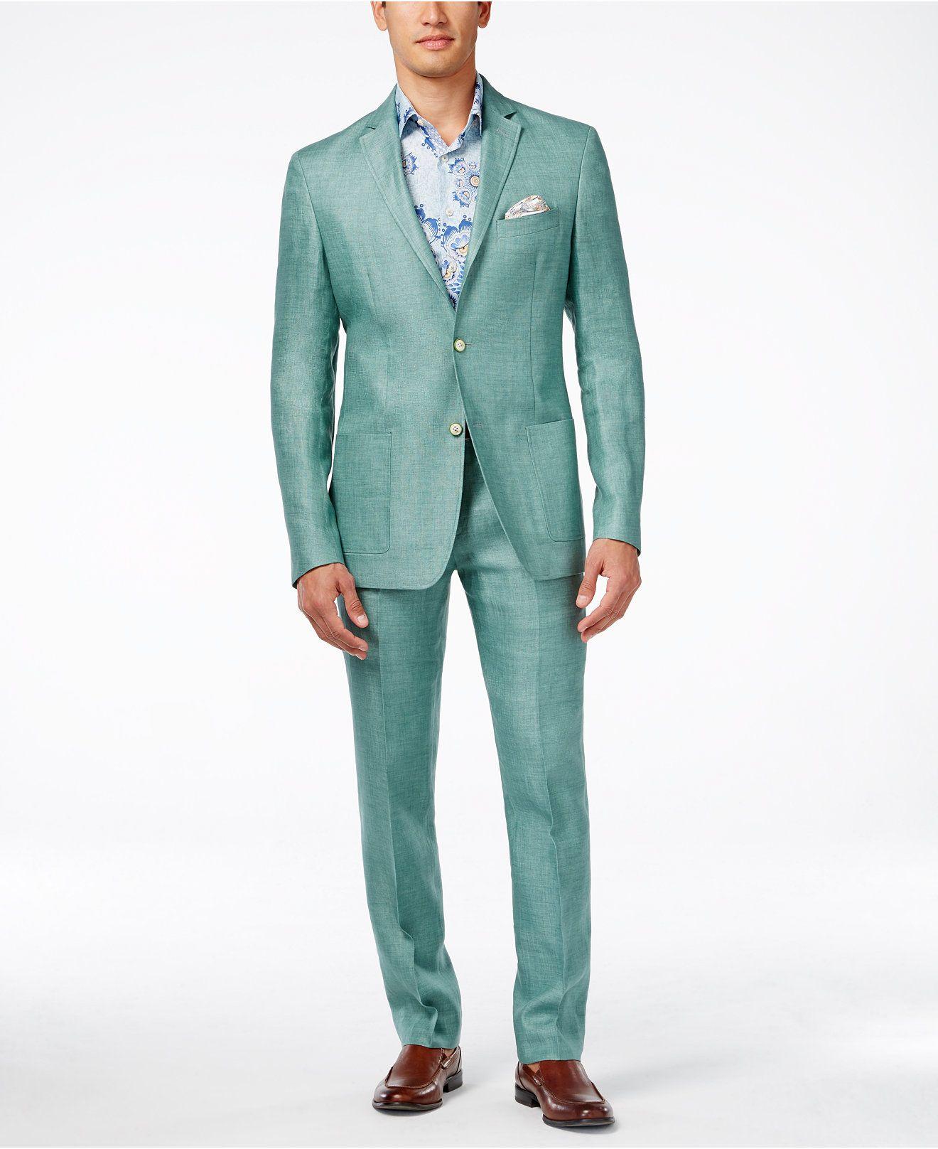 Tallia Slim-Fit Varene Linen Suit Separates - Suits & Suit Separates ...