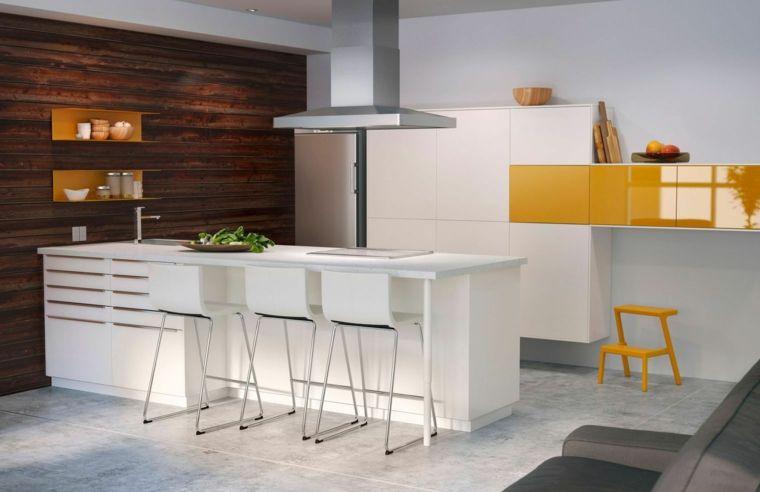 parete-legno-cucina-ikea-accenti-giallo-isola-centrale-cappa ...