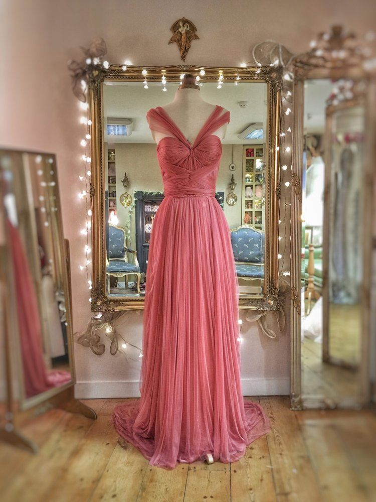 SAMPLE SALE; rose pink silk tulle romantic Grecian goddess style ...