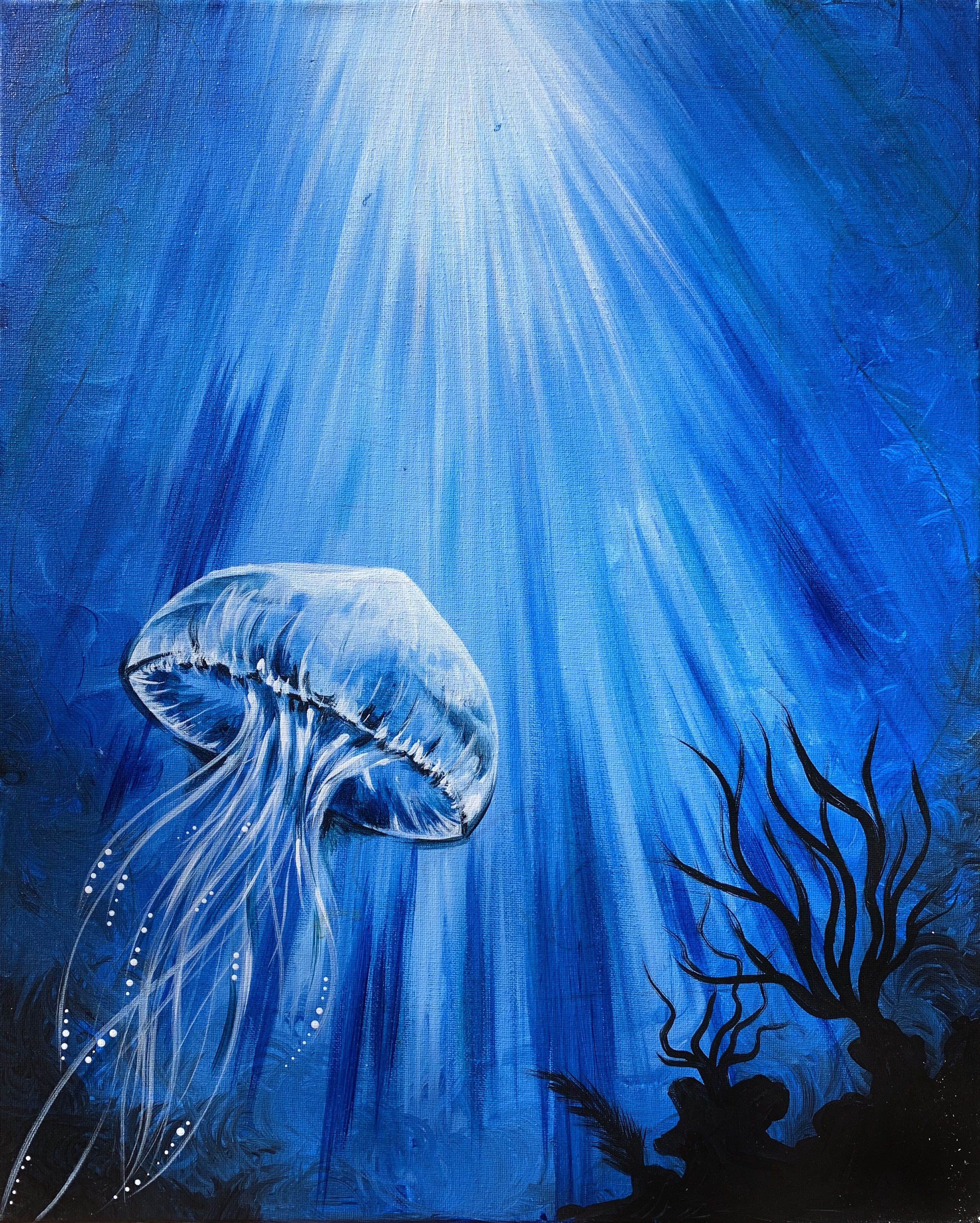 hey check out blue jelly at chuck s place yaymaker shark painting jellyfish painting jellyfish art blue jelly at chuck s place