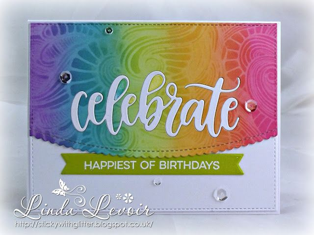 MFT Stamps - Celebrate, Rainbow Blending, Stamping