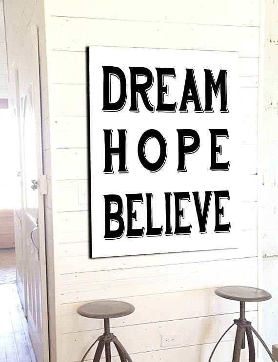 Believe Signs Decor Dream Hope Believe  Modern Farmhouse Wall Decor  Fixerupper Signs