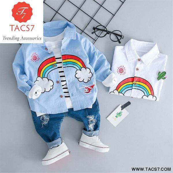 6c2a57d7da3ff Toddler Kids Baby Boys Girls Rainbow T-shirt Tops Ripped Jeans Pants  Outfits Set