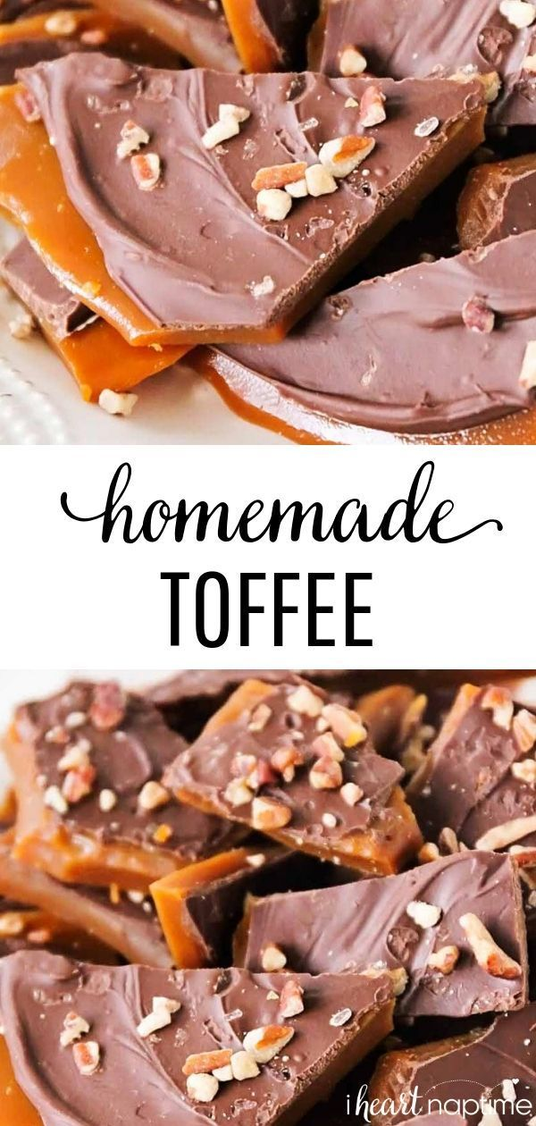 Homemade Toffee Homemade Toffee - This rich and buttery toffee takes about thirty minutes to make and is super easy, too! Perfect for parties, holiday gifts, and snacking! You won't believe how simple this toffee recipe is!