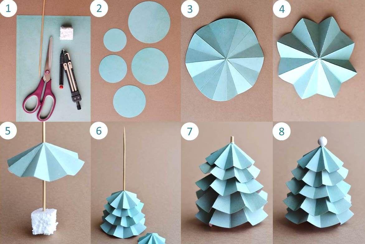 etapes diy sapin de noel en papier - Decoration De Noel En Origami