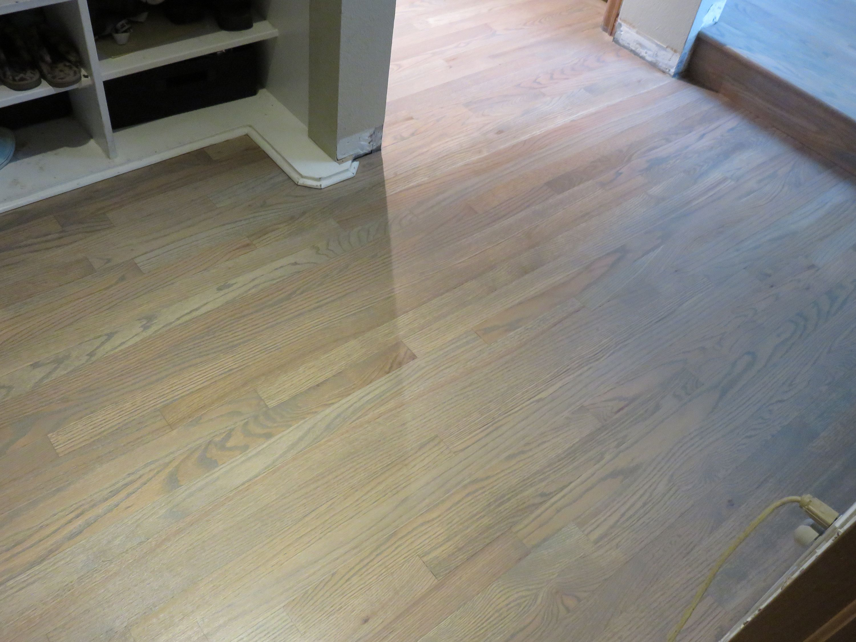 Red oak hardwood floors stained with duraseal classic gray for Classic wood floors