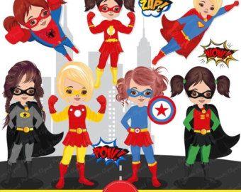 Superheroes Baby Clipart Superheroes Tees Superhero Babysuit - Girl superhero wall decals