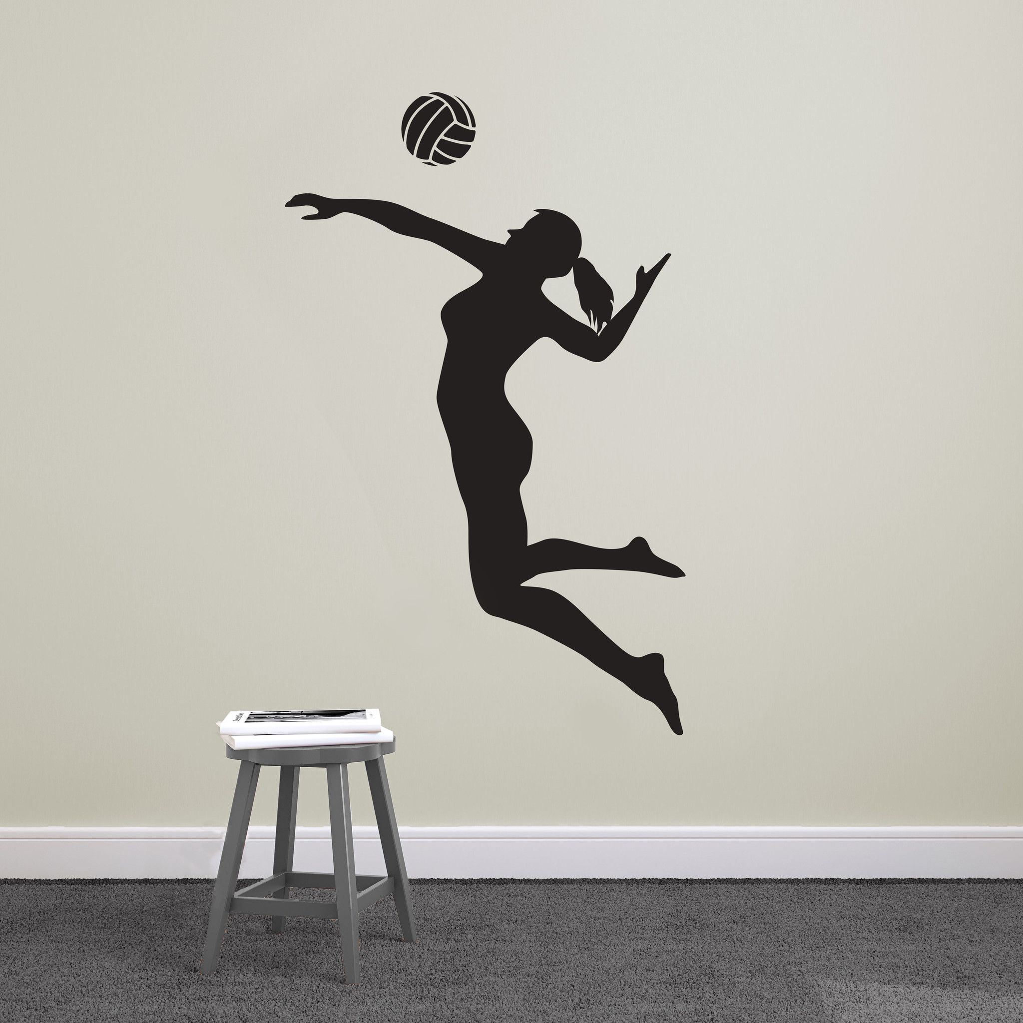 Volleyball Player Spiking Silhouette Sports Vinyl Wall Art Decal For Homes Kids Rooms Nurseries Preschools Kindergartens Elementary Schools Middle Schoo Dibujo De Voleibol Voleibol Fondo De Pantalla De Voleibol