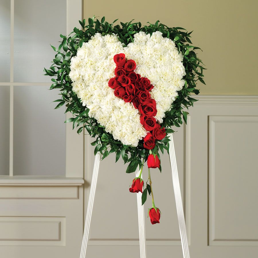 Funeral flowers broken heart funeral wreath floral tributes funeral flower heart shaped flower standing spray arrangement with white roses and red roses izmirmasajfo Gallery