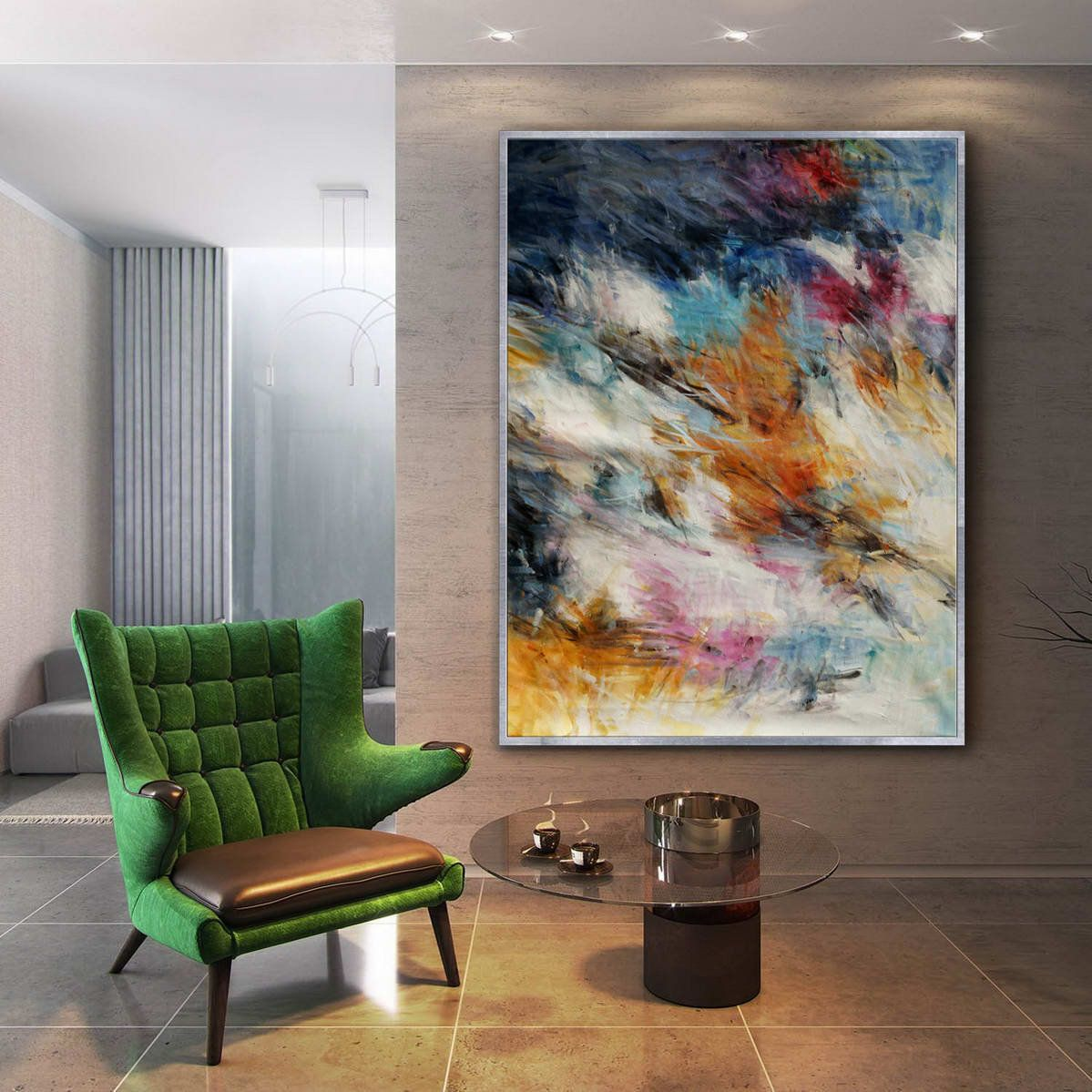 Colorful abstract super extra large oversize vertical